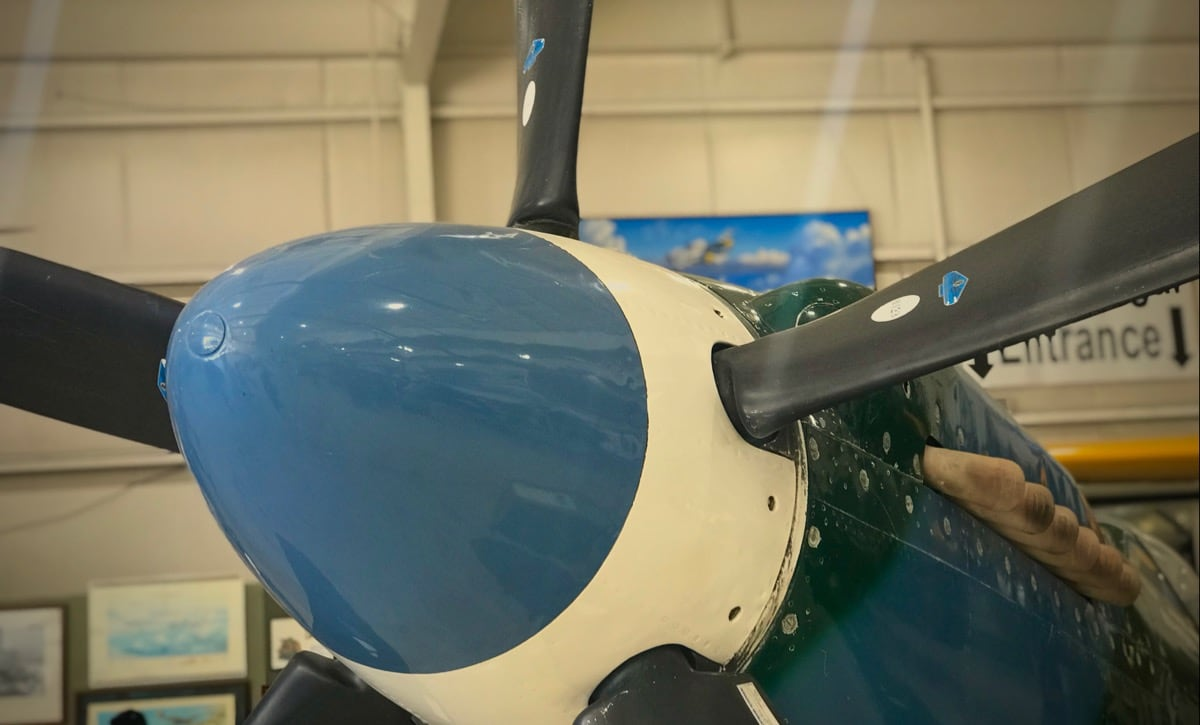 The five-bladed prop of a late-war Supermarine Spitfire, close-up